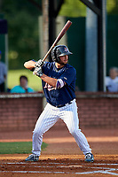 Elizabethton Twins first baseman Chris Williams (40) at bat during a game against the Bristol Pirates on July 28, 2018 at Joe O'Brien Field in Elizabethton, Tennessee.  Elizabethton defeated Bristol 5-0.  (Mike Janes/Four Seam Images)