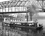 Pittsburgh PA:  Sir Iron City Tugboat operating on the Monongahela River - 1953