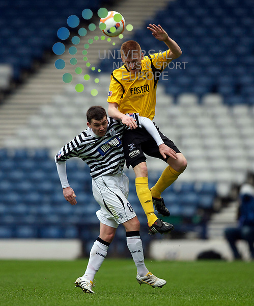 Scottish Irn-Bru Third Division Championship Season 2009/10.Queens Park Football Club  v Livingston Football Club...   Livingston's Chris Malone beats Queens  Stewart to the Ball   , during today's thrilling encounter between Queens park and the Leagues runaway leaders Livingston at The National Stadium, Hampden Park..Hampden Park, Glasgow...Picture, Mark Davison/Universal News and Sport.