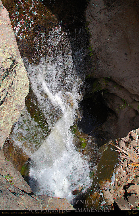 Jemez Falls from above Precipice, East Fork of the Jemez River, Jemez Mountains, Santa Fe National Forest, Los Alamos, New Mexico