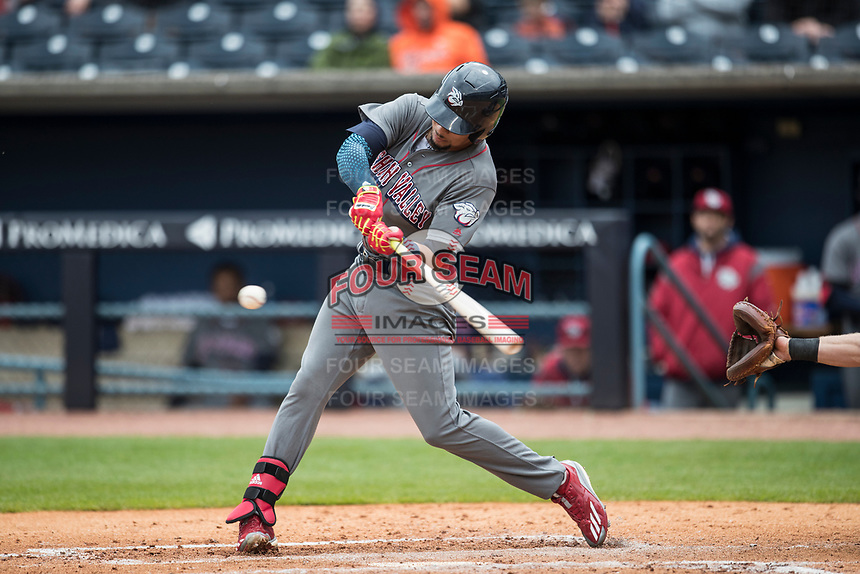 Lehigh Valley IronPigs shortstop JP Crawford (3) swings the bat against the Toledo Mud Hens during the International League baseball game on April 30, 2017 at Fifth Third Field in Toledo, Ohio. Toledo defeated Lehigh Valley 6-4. (Andrew Woolley/Four Seam Images)