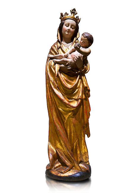 Gothic wooden statue of Madonna and Child from Bohemia, circa 1530-1540, tempera and gold leaf on wood,.  National Museum of Catalan Art, Barcelona, Spain, inv no: MNAC  65506. Against a white background.