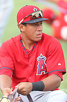 Jahmai Jones (22) of the AZL Angels stretches before a game against the AZL Rangers at the Texas Rangers Spring Training Complex on July 1, 2015 in Surprise, Arizona. Rangers defeated Angels, 3-1. (Larry Goren/Four Seam Images)