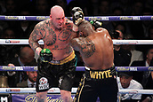 24th March 2018, O2 Arena, London, England; Matchroom Boxing, WBC Silver Heavyweight Title, Dillian Whyte versus Lucas Browne; Lucas Browne launches an attack on Dillian Whyte during the fight
