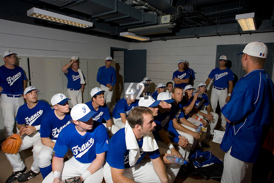 20 August 2007: Team manager Jeff Zeilstra talks to Team France in the locker room prior to the Czech Republic 6-1 victory over France in the Good Luck Beijing International baseball tournament (olympic test event) at the Wukesong Baseball Field in Beijing, China.