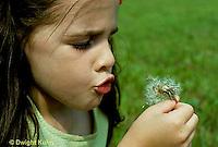 DN09-004z  Dandelion - girl blowing seeds -  Taraxacum officinale