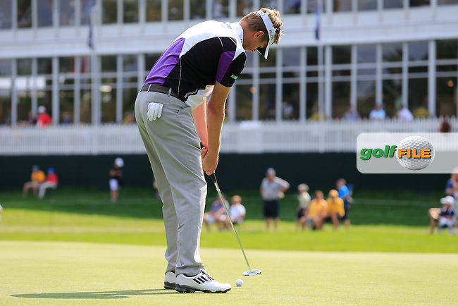 David Lynn (ENG) putts on the 6th green during Thursday's Round 1 of the 95th US PGA Championship 2013 held at Oak Hills Country Club, Rochester, New York.<br /> 8th August 2013.<br /> Picture: Eoin Clarke www.golffile.ie