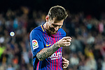 Lionel Andres Messi of FC Barcelona celebrates his hat trick during the La Liga match between FC Barcelona vs RCD Espanyol at the Camp Nou on 09 September 2017 in Barcelona, Spain. Photo by Vicens Gimenez / Power Sport Images
