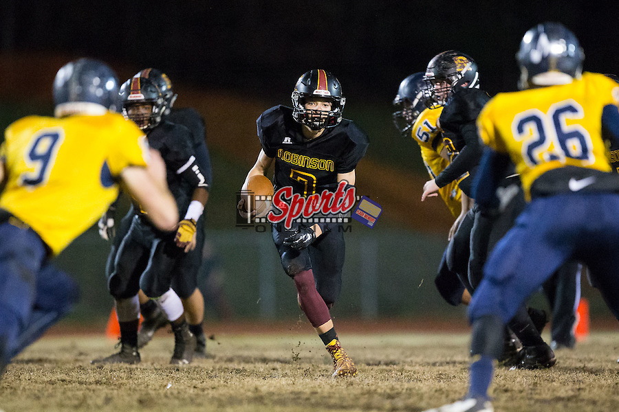 Josh Dale (7) of the JM Robinson Bulldogs looks for running room during first half action against the South Iredell Vikings at South Iredell High School November 20, 2015, in Statesville, North Carolina.  The Vikings defeated the Bulldogs 14-13.  (Brian Westerholt/Special to the Tribune)