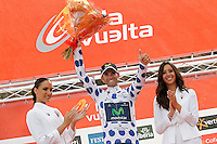 Alejandro Valverde with the jersey of race leader of the mountain after during the stage of La Vuelta 2012 between Lleida-Lerida and Collado de la Gallina (Andorra).August 25,2012. (ALTERPHOTOS/Acero) /NortePhoto.com<br /> <br /> **CREDITO*OBLIGATORIO** <br /> *No*Venta*A*Terceros*<br /> *No*Sale*So*third*<br /> *** No*Se*Permite*Hacer*Archivo**<br /> *No*Sale*So*third*