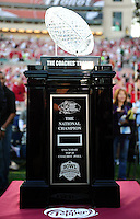 Jan 7, 2010; Pasadena, CA, USA; The Coaches' Trophy before the 2010 BCS national championship game between the Texas Longhorns and the Alabama Crimson Tide at the Rose Bowl.  Mandatory Credit: Mark J. Rebilas-