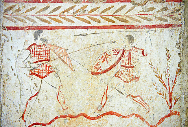 Lucanian fresco tomb painting of a two men fighting. Pastrum 3rd Century BC