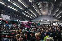 lots of fans showed up at the race start. <br /> <br /> 75th Omloop Het Nieuwsblad 2020 (BEL)<br /> Men Elite Race<br /> Gent – Ninove: 200km<br /> <br /> ©kramon