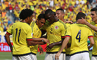 BARRANQUILLA - COLOMBIA -29-03-2016: Carlos Bacca jugador de Colombia celebra después de anotar un gol a Ecuador durante partido de la fecha 6 para la clasificación a la Copa Mundial de la FIFA Rusia 2018 jugado en el estadio Metropolitano Roberto Melendez en Barranquilla./  Carlos Bacca player of Colombia celebrates a goal against Ecuador during match of the date 6 for the qualifier to FIFA World Cup Russia 2018 played at Metropolitan stadium Roberto Melendez in Barranquilla. Photo: VizzorImage / Gabriel Aponte / Cont