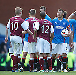 Lee McCulloch with the matchball at the end of the game after scoring his second consecutive hat-trick of goals