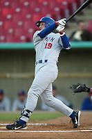 Adam Fox of the Stockton Ports bats during a 2004 season California League game against the High Desert Mavericks at Mavericks Stadium in Adelanto, California. (Larry Goren/Four Seam Images)