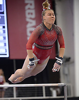 Arkansas' Sydney Laird competes Friday, Feb. 7, 2020, in the bars portion of the Razorbacks' meet with Georgia in Barnhill Arena in Fayetteville. Visit  nwaonline.com/gymbacks/ for a gallery from the meet.<br /> (NWA Democrat-Gazette/Andy Shupe)