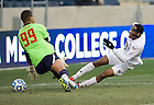 Dec. 15, 2013; Notre Dame forward Leon Brown scores against Maryland goalkeeper Zack Steffen in the first half of College Cup finals at PPL Park in Chester, Pa. Photo by Barbara Johnston/University of Notre Dame