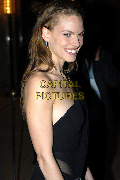 HILARY SWANK.David di Donatello Awards 2005.Rome, Italy, April 29th 2005..half length hillary black dress.Ref: OME.www.capitalpictures.com.sales@capitalpictures.com.©Omega/Capital Pictures.