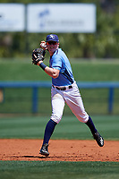 Charlotte Stone Crabs shortstop Jake Cronenworth (2) throws to first base during a game against the Palm Beach Cardinals on April 12, 2017 at Charlotte Sports Park in Port Charlotte, Florida.  Palm Beach defeated Charlotte 8-7.  (Mike Janes/Four Seam Images)