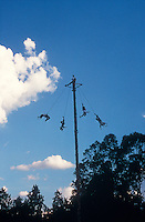 Voladores or fliers performing their sacred aerial dance at the Totonac ruins of El Tajin, Veracruz state, Mexico. El Tajin is a UNESCO Wold Heritage site.