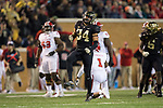 Demetrius Kemp (34) of the Wake Forest Demon Deacons reacts after causing a fumble during second half action against the North Carolina State Wolfpack at BB&T Field on November 18, 2017 in Winston-Salem, North Carolina.  The Demon Deacons defeated the Wolfpack 30-24.  (Brian Westerholt/Sports On Film)