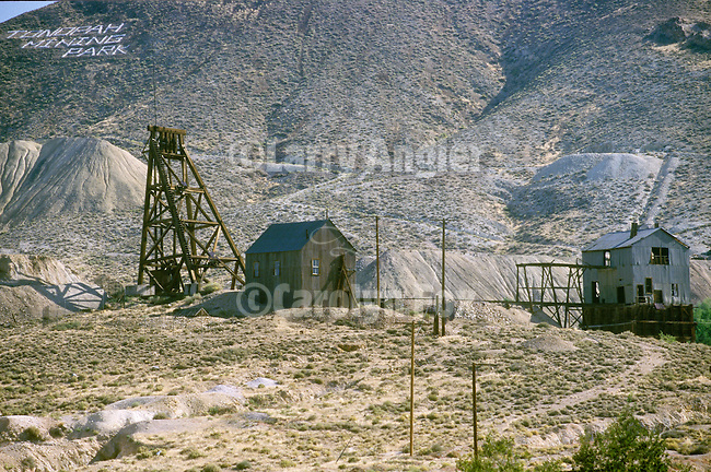 Silver mines, head frames and mining relics at the Tonopah Mining Park, Tonopah, Nev.