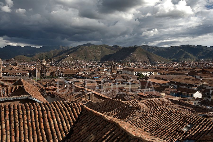 Ceramic tile rooftops in the city of Cuzco, Peru.