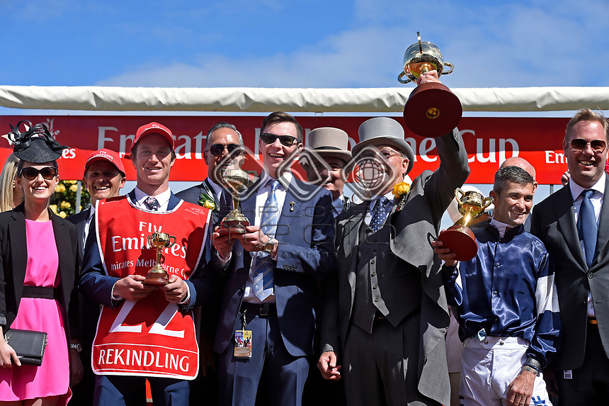 Melbourne Cup winner Rekindling (GB) presentations.   Owner Lloyd Williams, Jockey Corey Brown and Trainer Joseph O'Brien<br />