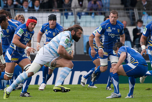 16.10.2010 Heineken Cup Rugby from France Racing Metro 92 v Clermont. Picture shows Alexandre Audebert (ASM Clermont Auvergne) and Sebastien chabal (Racing Metro 92).