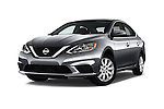 Stock pictures of low aggressive front three quarter view of 2017 Nissan Sentra SV 4 Door Sedan Low Aggressive