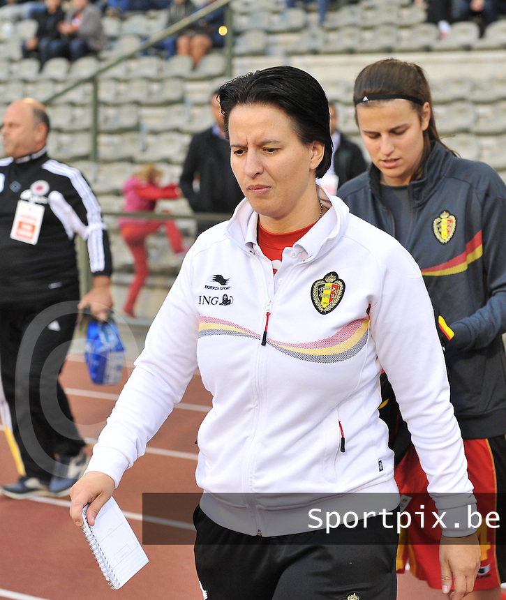 20130921 - BRUSSELS , BELGIUM : Belgian assistant coach Tamara Cassimon pictured during the female soccer match between Belgium and Albania , on the first matchday in group 5 of the UEFA qualifying round to the FIFA Women World Cup in Canada 2015 at the Koning Boudewijn Stadion , Brussels . Saturday 21th September 2013. PHOTO DAVID CATRY