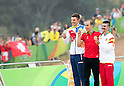 (L-R) Joroslav Kulhay (CZE), Nino Schurter (SUI), Carlos Coloma Nicolas (ESP),<br /> AUGUST 21, 2016 - Cycling :<br /> Men's Cross Country Medal Ceremony <br /> at Mountain Bike Centre <br /> during the Rio 2016 Olympic Games in Rio de Janeiro, Brazil. <br /> (Photo by Enrico Calderoni/AFLO SPORT)