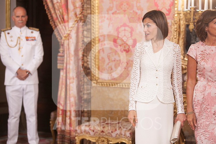 Spanish Royals King Felipe VI of Spain and Queen Letizia of Spain receive Romanian President Klaus Werner Iohannis and his wife at Royal Palace in Madrid, Spain. July 13, 2015. (ALTERPHOTOS/Pool)