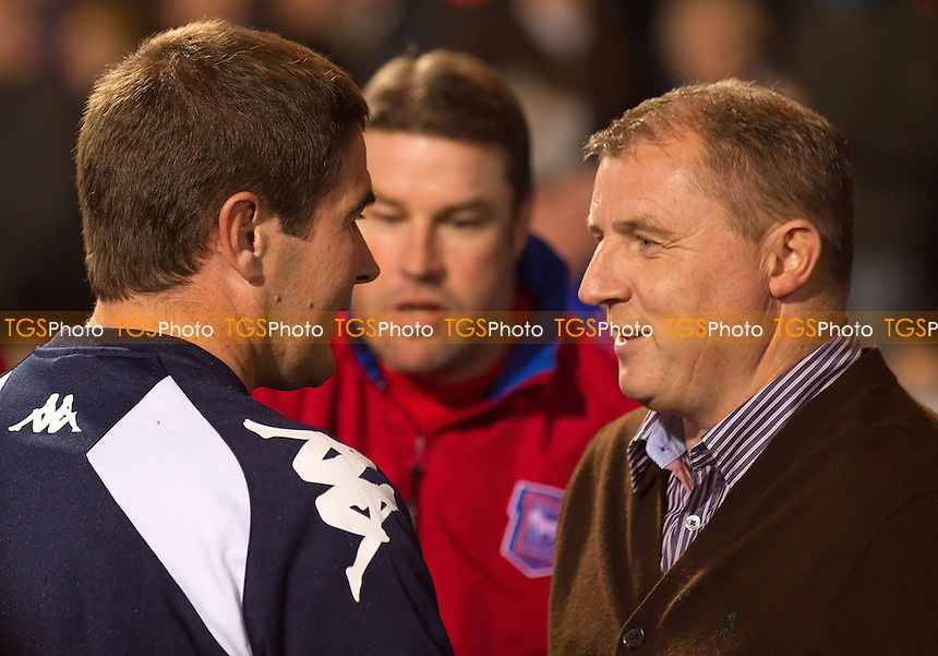 Paul Jewell, Manager, Ipswich Town FC with his counterpart Nigel Clough, Manager, Derby County FC pre match - Ipswich Town vs Derby County - NPower Championship Football at Portman Road, Ipswich, Suffolk - 23/10/12 - MANDATORY CREDIT: Ray Lawrence/TGSPHOTO - Self billing applies where appropriate - 0845 094 6026 - contact@tgsphoto.co.uk - NO UNPAID USE.