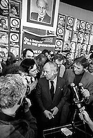November 15 1976 a file photo - Montreal (Qc) CANADA - Candidates of the Parti Quebecois celebrate the 1976 victory with the party leader Rene Levesque , November 15 1976 at Centre Paul Sauve.