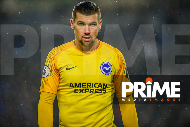Matthew Ryan Goalkeeper of Brighton & Hove Albion (1) during the Premier League match between Brighton and Hove Albion and Leicester City at the American Express Community Stadium, Brighton and Hove, England on 24 November 2018. Photo by Edward Thomas / PRiME Media Images.