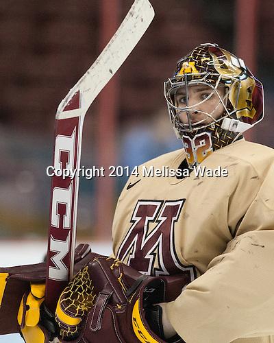 Adam Wilcox (MN - 32) - The University of Minnesota Golden Gophers practiced on Wednesday, April 9, 2014, at the Wells Fargo Center in Philadelphia, Pennsylvania during the 2014 Frozen Four.