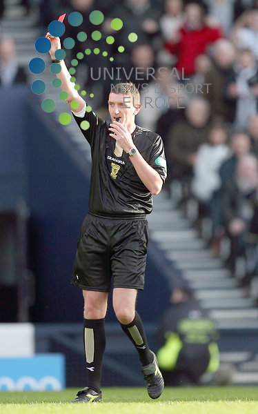 referee sends off during The Co-Operative League Cup Final 2009/10 between St Mirren and Rangers at The National Stadium Hampden Park Glasgow 21/03/10..Picture by Ricky Rae/universal News & Sport (Scotland).