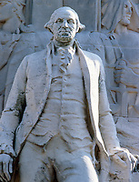 ACID RAIN DAMAGE TO STATUE OF WASHINGTON - AFTER<br /> (2 of 2)<br /> Washington as President - Washington Square Arch, July 17 1935. SO2 (sulfuric dioxide) combines with atmospheric moisture (H20), yielding acid rain, or sulfuric acid (H2SO4).  Calcium carbonate in limestone statuary dilutes the sulfuric acid to form calcium sulfate, corroding the stone.
