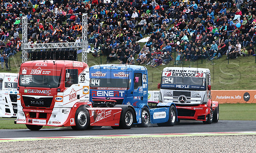 3rd September 2017, Most Racing Track, Most, Czech Republic; FIA European Truck Racing Championship; 3rd race, left the third placed Antonio ALBACETE ((ESP/MAN/Truck Sport Lutz Bernau), in the middle Stephanie HALM (GER/MAN/Reinert Racing) on the right Norbert KISS ((HUN/Mercedes-Benz/tankpool24 Racing)