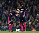 Lionel Messi of Barcelona with Neymar of Barcelona during the Champions League Group C match at the Etihad Stadium, Manchester. Picture date: November 1st, 2016. Pic Simon Bellis/Sportimage