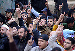 Islamic Jihad supporters take part in a rally organized by Islamic Jihad marking the first anniversary of Gaza war, in Gaza city, Tuesday, Dec. 31, 2009. Israel launched the three-week long offensive on Dec. 27, 2008, to end years of rocket fire from Gaza toward Israeli border towns. About 1,400 Palestinians were killed, including hundreds of civilians, along with 13 Israelis. Photo by Mohammed Othman