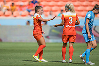 Houston, TX - Saturday May 13, Houston Dash midfielder Andressa Cavalari Machry (17), Houston Dash forward Rachel Daly (3) during a regular season National Women's Soccer League (NWSL) match between the Houston Dash and Sky Blue FC at BBVA Compass Stadium. Sky Blue won the game 3-1.