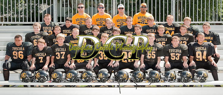 August 25, 2013- Tuscola, IL- The 2013 Tuscola JFL Lightweights. Front row from left are Caden Cradle, Ashton Jones, Jonah Pierce, David Culp, Nathan Koester, Eric Brewer, Jacob Kibler, Logan Tabeling, and Donovan Chester. Second row from left are Justin Rahn, Jake Dyer, Grant Hale, Lucas Kresin, Ben Tiezzi, Mattison Alholwani, Brandon Douglas, Grant Hardwick, Josh Dyer. Third row from left are Max Wyninger, Sergio Martinez, James Weber, Coulson Poffenberger, Ryan Bartley, Cole Cunningham, Cameron Homann, and Tyler Garrett. Top row from left are Josh Brookins, Cole Stanfield, James Knight, and Deon Chester. [Photo: Douglas Cottle]