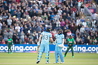 Eoin Morgan (England) congratulates Jos Buttler (England) on his half century during England vs Bangladesh, ICC World Cup Cricket at Sophia Gardens Cardiff on 8th June 2019