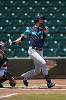 Nolan Jones (10) of the Lynchburg Hillcats follows through on his swing against the Winston-Salem Rayados at BB&T Ballpark on June 23, 2019 in Winston-Salem, North Carolina. The Hillcats defeated the Rayados 12-9 in 11 innings. (Brian Westerholt/Four Seam Images)
