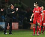 Brendan Rodgers manager of Liverpool sends instructions via Steven Gerrard of Liverpool - FA Cup Fourth Round replay - Bolton Wanderers vs Liverpool - Macron Stadium  - Bolton - England - 4th February 2015 - Picture Simon Bellis/Sportimage