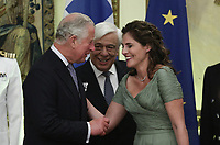 Pictured L-R: Prince Charles, Greek President Prokopis Pavlopoulos and the Prime Minister's wife Betty (Peristera) Baziana during the official state dinner at the Presidential Mansion in Athens, Greece. Wednesday 09 May 2018 <br /> Re: Official visit of HRH Prnce Charles and his wife the Duchess of Cornwall to Athens, Greece.
