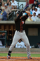 Delmarva Shorebirds first baseman Nicky Delmonico #8 at bat representing the Northern division during the the South Atlantic League All-Star game held at the Joseph P. Riley Jr.Ballpark in Charleston, South Carolina on June 19th, 2012. After the game, Delmonico was awarded the MILB.com top star award.  The Northern division defeated the Southern division by the score of 3-2. (Robert Gurganus/Four Seam Images)